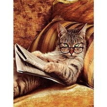 Glasses Cat Read Newspaper Square DIY Diamond Embroidery Diamond Painting Cross Stitch rhinestones Mosaic Crafts Kits Home Decor(China)