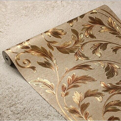 European Luxury Gold Floral Wallpaper 3D Embossed Waterproof Wall Paper Roll Mural Wallpaper Living room bedroom wallpaper<br><br>Aliexpress