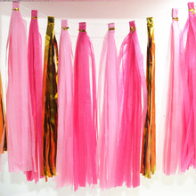 Wedding Decoration 5Pcs Tissue Paper Tassels Garland Wedding Home Decor Crafts Birthday Party Events Supplies Balloons Ribbon