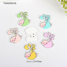 TIANXINYUE 23x30mm bassinet Buttons Sewing Scrapbooking Random color Two Holes baby Wood Buttons,DIY Clothing Accessories