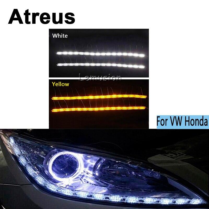 Atreus 2X Car LED Crystal water lamp DRL Daytime running light 12V For Volkswagen VW Polo Golf 4 5 6 7 Passat B5 B6 Touran Honda<br>