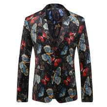 Chinese wind color butterfly print suit male Korean cultivating youth new autumn and winter metrosexual man party dress popular(China)