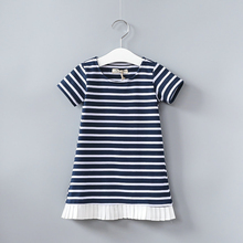 VORO BEVE New Hot Baby Girls Dresses Summer Fold Hem Stripes  Dress Fashion Children Clothes