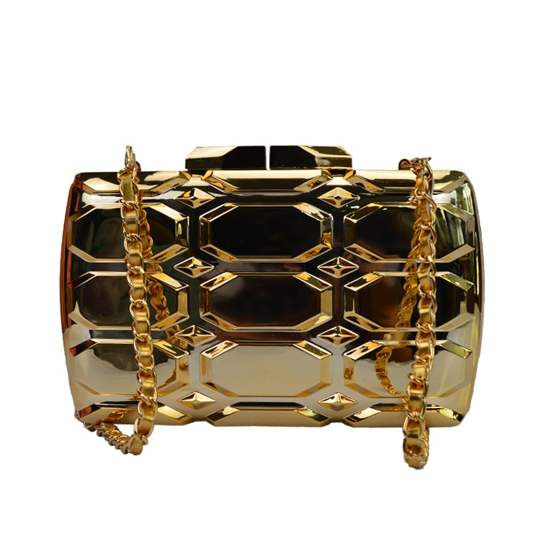 2017 new brand fashion women messenger bags Rectangular lattice gold dress acrylic hard casual evening Bag gold vintage clutch<br>