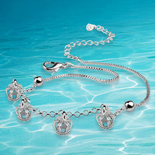 Fashion Free shipping 925 sterling silver women's vintage anklet 925 silver anklets for women