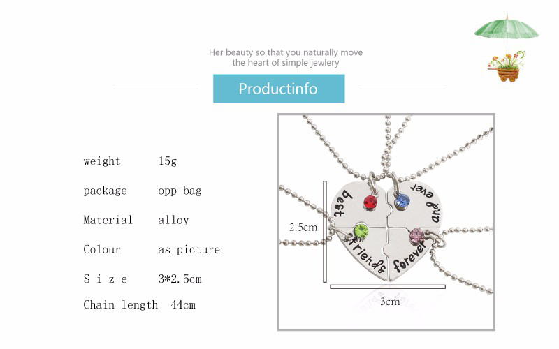 Heart-Shaped and Colorful Diamonds BFF Necklaces For 4
