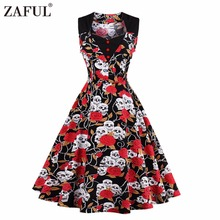 ZAFUL Women Summer Dress 2017 Floral Retro Vintage 50s 60s Casual Party Robe Rockabilly skull Dresses Plus Size Vestidos mujer(China)