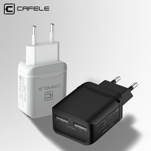CAFELE Travel USB EU Charger Plug 2.4A Dual output Universal Adapter Charger Smart Mobile Phone Charger For iPhone Samsung(China)
