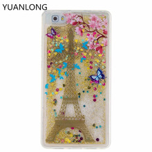 Cellphone Soft Back Cover Case For Huawei P8 Lite Cases Transparent Clear Flowing Dynamic Glitter Sand Quicksand Star(China)