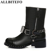 ALLBITEFO High quality genuine leather +PU rhinestone buckle rivets thick heel ankle boots 2017 fashion women boots martin boots(China)