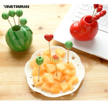 YINGTOUMAN 2set/lot Cute Heart Stainless Steel Cake Fork Fruit Stick Outdoor Camping Fruit Fork Dessert Stick Cookware Tableware(China)