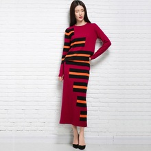 spring autumn twinset women's slim knitted dress wool winter striped dress long Sweater Pullover&skit stripe sweaters 2017 New