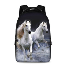 17 inch horses pattern cool fashion school backpack youth boys and girls laptop bag can store 15 inch computer