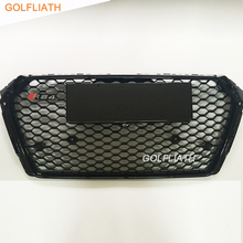 GOLFLIATH For New Audi A4 B9 RS4 Style black painted black frame chrome emblem Front Bumper Mesh Grill Grille 2016UP(China)