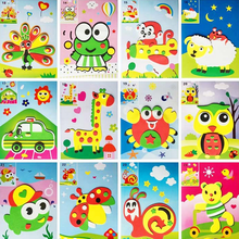 2Pcs/lot Colorful 3D Cartoon Animal Puzzle Handmade DIY Cute Paste Stickers Foam Educational Gift Toys For Children 17*12.5 CM(China)
