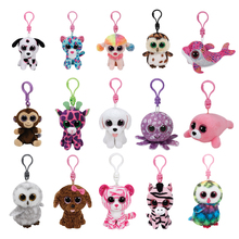 Original Ty Beanie Boos Big Eyes Plush Keychain Toy Doll Pink Owl TY Baby Kids Gift WJ159