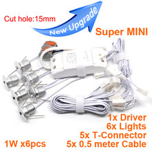 YRANK Super MINI 1W x 6pcs 6W Dimmable LED Downlights 6x1W Under Cabinet Light Spot Ceiling Lamp Jewelry Lighting Free Shipping(China)