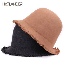 [HATLANDER]Solid luxury wool top hat for women fedoras outdoor winter bucket cap pork pie chapeau lady girls church bowler hats(China)