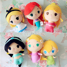 Princess Dolls Plush Toys Rapunzel Little Mermaid Tinkerbell Alice Cinderella Snow White Jasmine Belle Cute Pendant Keychains(China)