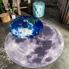 Free shipping 3D Printed Round Mat Cartoon Creative Earth Moon bedroom Non-slip Carpet Living Room rugs Swivel chair Mats