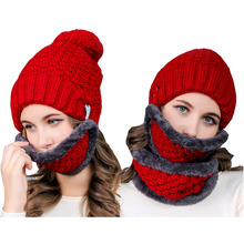 Badinka 2017 New Winter Women Men Thick Warm Knitted Balaclava Fleece Beanies Hat Fur Neck Warmer Scarf Full Face Ski Mask Set(China)