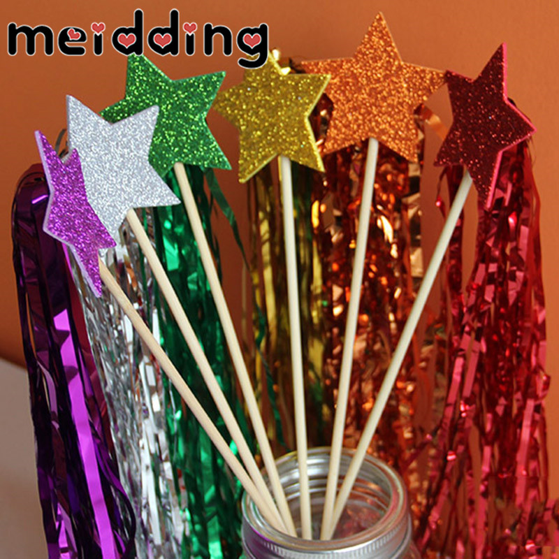 MEIDDING 6pcs Glitter Colorful Star Fringed Fairy Wand Girls Birthday Wedding Party Decor Hen Party Bottle Cake Topper Supplies
