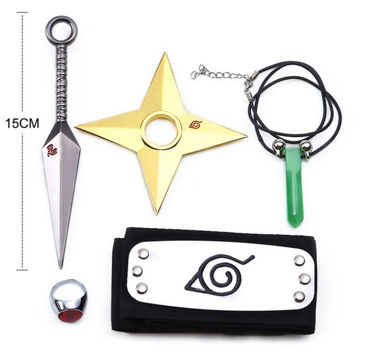 5PCS/Lot CODOMO Naruto Kunai Cosplay Accessories Items Weapons Naruto Weapon Set Headband Necklace Tsunade Minato Metal Knife(China)