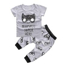 cheap infant clothing toddler boys girls Printed T-shirt Tops+Pants Outfit set kids clothes clothing set moda infantil good