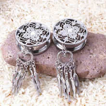 316L Stainless Steel Dream Catcher Dangle Screw Ear Plug Gauge Tunnel Body Ear Expander Stretcher Piercing Jewelry(China)