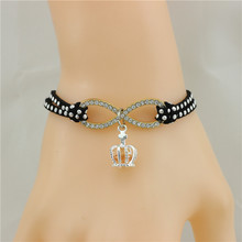 2colour Infinity  crown  Charm Wrap Multilayer Bracelet Baby Blue Purple White Leather Mother Child Jewelry