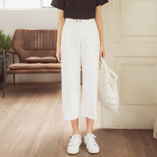 Plus size white calf length wide leg pants female college women 2017 straight jeans large solid trousers pockets bottoms good