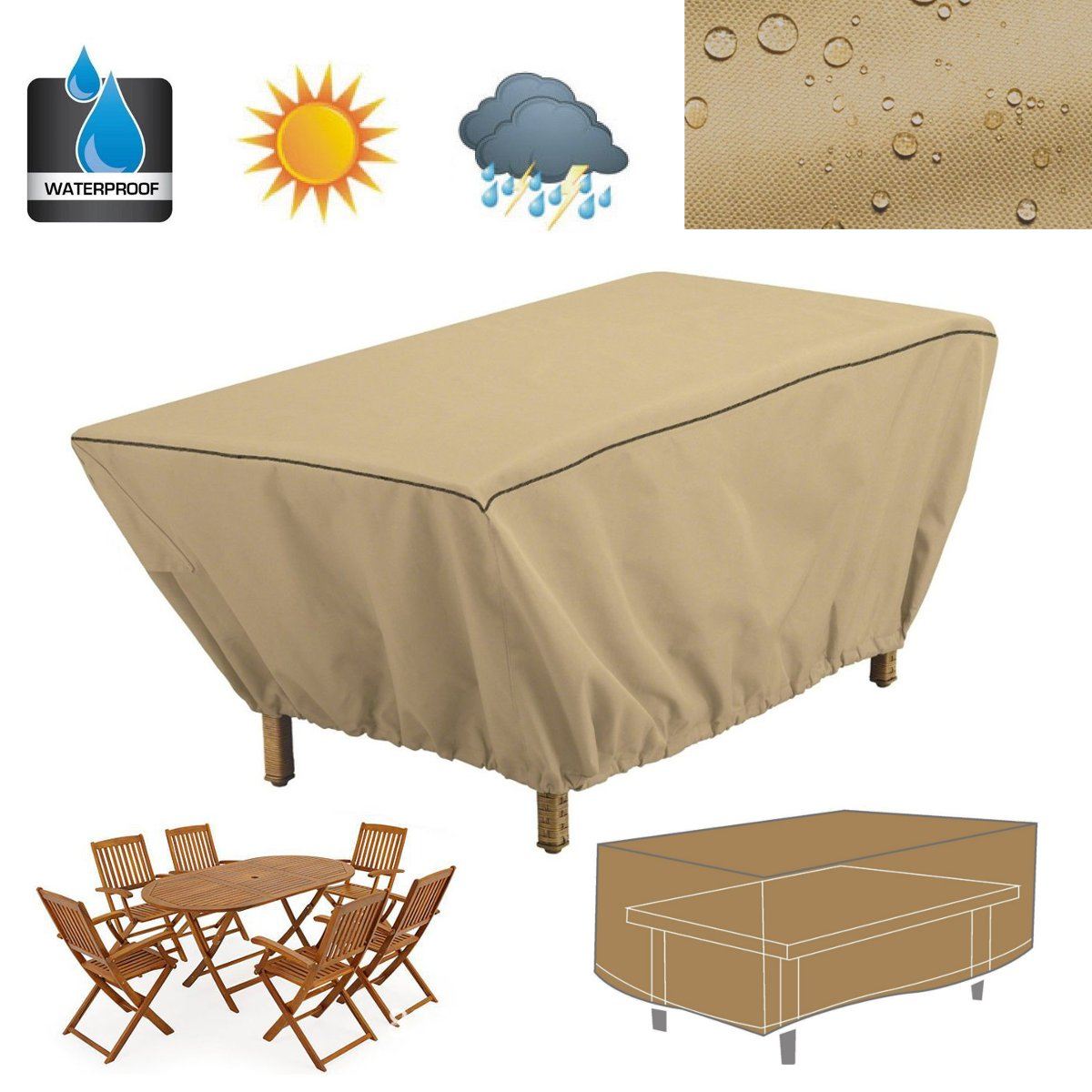 122X76X46cm Dustproof Patio Coffee Table Cover Garden Outdoor Furniture Protective Cover Waterproof Table Cloth Textiles Favor(China (Mainland))