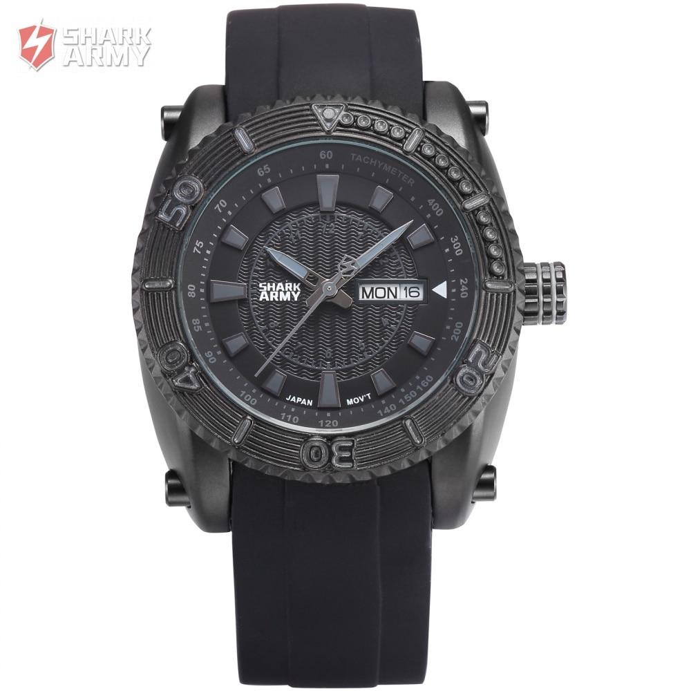Shark Army relogio masculino Military Full Steel Case Auto Date Display Black Rubber Wristwatch Sports Quartz Men Watches/SAW162<br>