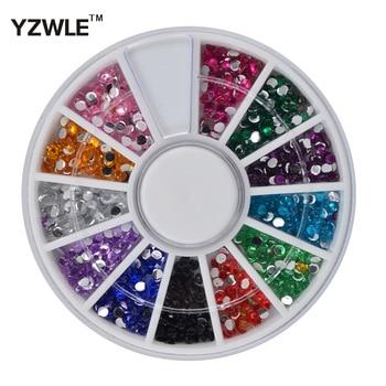 YZWLE Hot Sale 600pcs 2mm Multicolor Acrylic Nail Art Decoration Glitter Rhinestones 3D Nail Art Decoration+Wheel