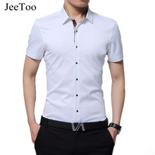 Buy JeeToo Brand 2017 Men Shirt Short Sleeve Slim Fit Summer Male Shirt Fashion White Mens Dress Shirts Plus Size 5XL Chemise Homme for $15.53 in AliExpress store