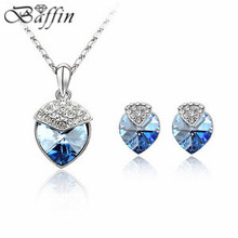 2015 Indian wedding jewelry sets Crystal Heart Necklaces Earrings perfume women colares femininos made with Swarovski Elements