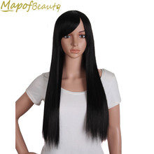 "28"" Long Straight Synthetic Wigs With Bangs Black Light Dark Brown Red Cosplay Wigs Heat Resistant Female Hairpieces MapofBeauty(China)"