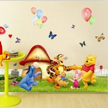 1pc Large Size Cartoon Wall stickers Winnie Pooh For Kids Room Decoration Wall Decal AY206(China)