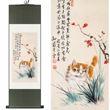 Traditional Chinese Silk watercolor ink cute moe cat kitten puss animal art canvas wall damask picture framed scroll painting(China)