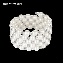 Mecresh Luxury Simulated Pearl Bracelet & Bangles for Women Silver Color Round Crystal Pulseiras Bridal Wedding Jewelry MSL313