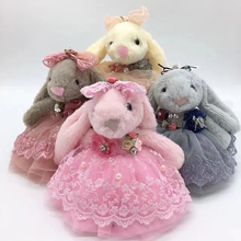 Andybeatty 20cm Cute Rabbit Hare Bunny Keyring Child gift Fur Fluffy Key Chain Womens Bag Charms Car Pendant Keychain(China)