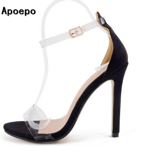 2017 new fashion woman sandal sexy PVC transparent thin heels sandal open toe ankle strap gladiator sandal Rome style shoe <br>