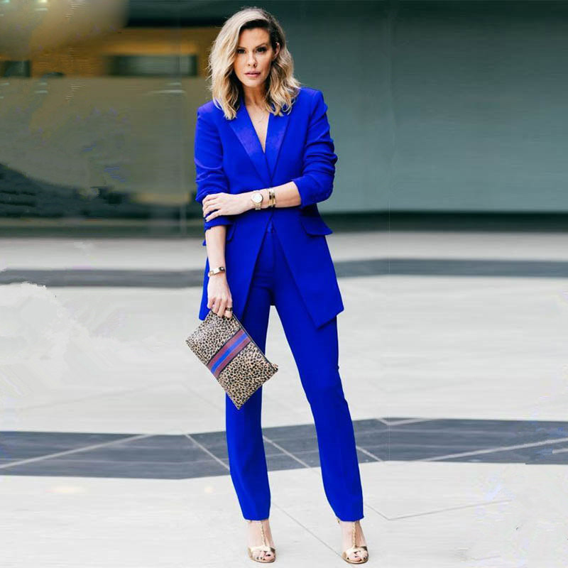 New Royal Blue 2 Piece Set Women Business Suits Slim Fit Ladies