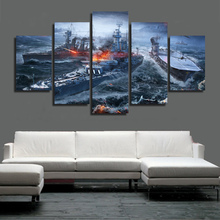 Unframed Modular Wall Painting 5P World of Warships Wargaming Game Poster Modern Oil Painting on Canvas Pictures For Living Room