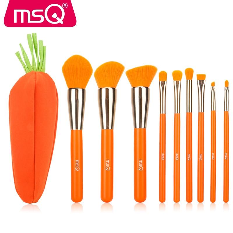 MSQ 9Pcs A Set Full Professional Makeup Brushes Sets Carrot Color Makeup Tool Case Suit Cute Girl Cartoon Portable PU Makeup Bag<br>