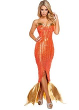 Halloween adult mermaid tail costume evening dress women