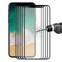 5Pcs/Lot HAT PRINCE for iPhone X / 10 3D Curved Carbon Fiber Edges Full Size Tempered Glass Screen Protectors 0.2mm - Black(China)