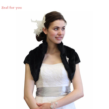 2016 Custom Made Bridal Bolero Black Faux Fur Bridal Jacket on Sale Crop Jacket wedding Jacket Wedding Accessories