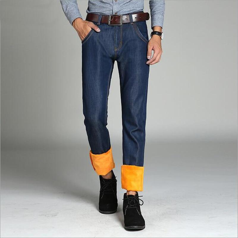 Mens Winter Stretch Thicken Thermal Flannel Fleece Jeans Slim Fit Denim Jean Pants TrouserОдежда и ак�е��уары<br><br><br>Aliexpress