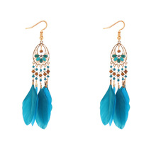 2017 New Bohemian Drop Earrings & Women's Hand-beaded Feathered Tassel Earrings Are An Exotic and Long Ear-fall Fashion Earrings